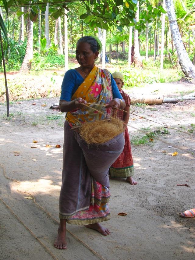 Woman making rope