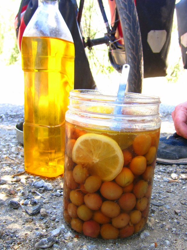 Homemade oil and delicious olives