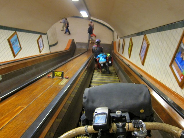 Escalator fun with bikes